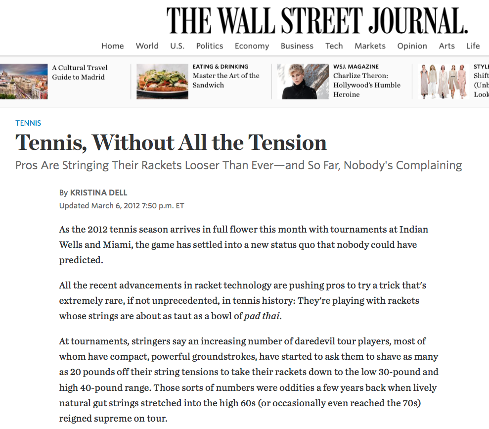 To Loose but not Too Loose — The WSJ on the Declining Tennis String